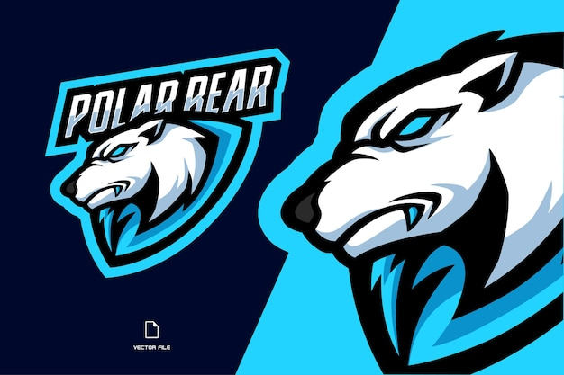 Ilustracja logo maskotka niedźwiedzia polarnego