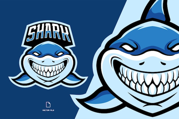 Ilustracja logo maskotka piękny rekin