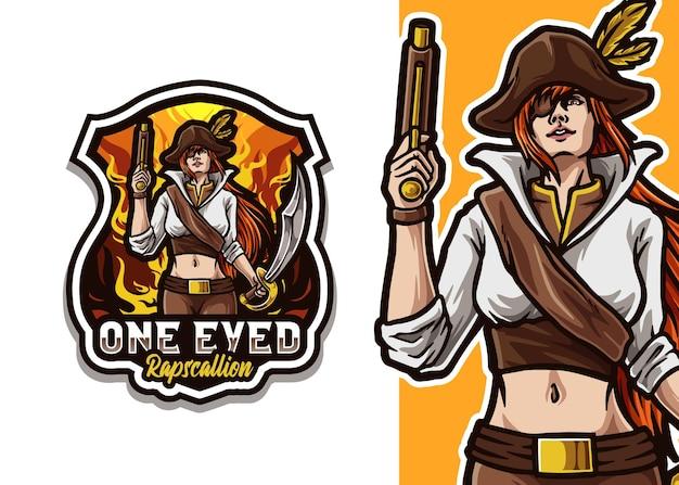 Ilustracja logo maskotka pirata
