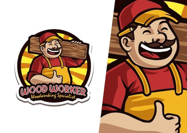 Ilustracja logo maskotka pracownika drewna