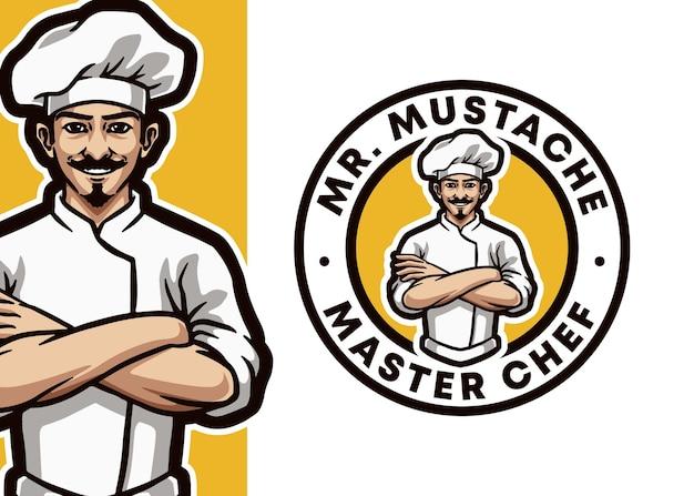 Ilustracja logo maskotka profesjonalnego szefa kuchni