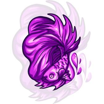 Ilustracja logo maskotka ryb betta
