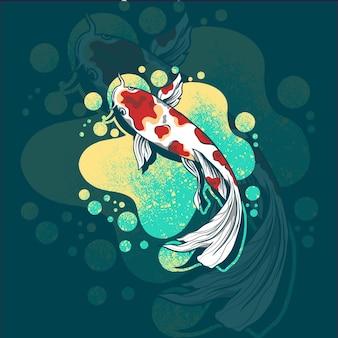 Ilustracja logo maskotka ryb koi