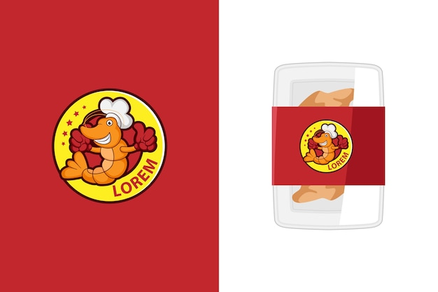 Ilustracja logo maskotka słodkie krewetki dla produktów z owoców morza