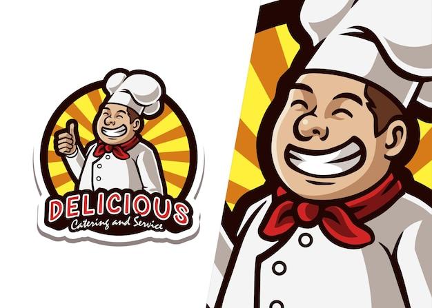Ilustracja logo maskotka szefa kuchni gotowania