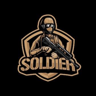 Ilustracja logo maskotka żołnierza