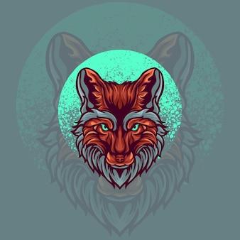 Ilustracja logo maskotka zwierząt fox