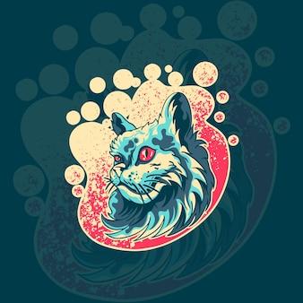 Ilustracja logo maskotka zwierząt kot