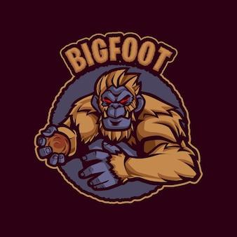 Ilustracja logo maskotki big foot
