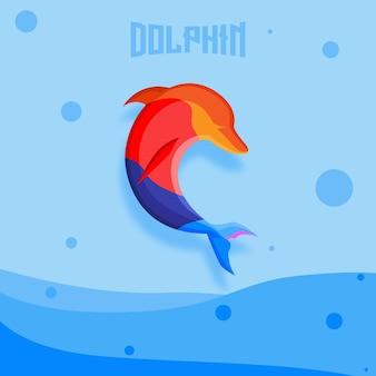 Ilustracja logo maskotki delfina