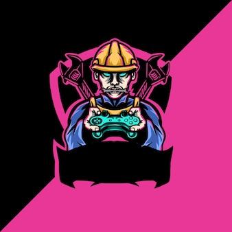Ilustracja logo maskotki esport konstruktora