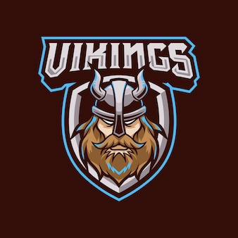 Ilustracja logo maskotki wikingów dla drużyny sportowej lub e-sportowej