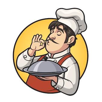 Ilustracja logo mężczyzna szefa kuchni