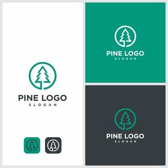 Ilustracja logo nowoczesne sosny. naturalny, natura, zdrowie, outdoor,
