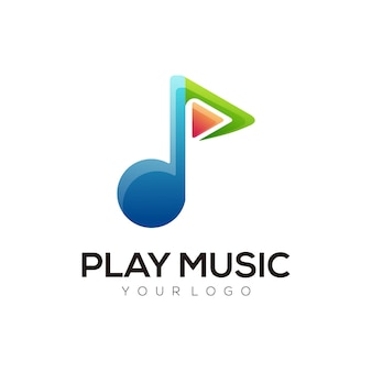 Ilustracja logo odtwarzaj muzykę gradientową w kolorowym stylu