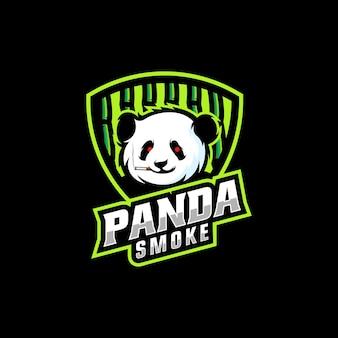 Ilustracja logo panda smoke e sport i styl sportowy