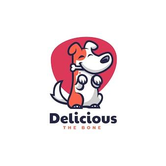 Ilustracja logo pies jedzenie maskotka stylu cartoon