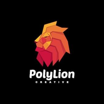 Ilustracja logo poly lion gradient kolorowy styl.