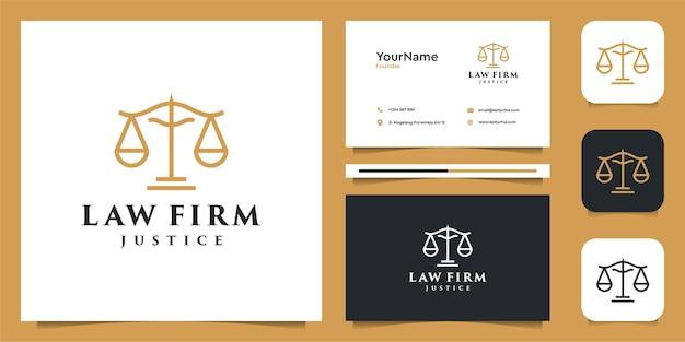 Ilustracja logo prawa w stylu lineart. logo i wizytówka