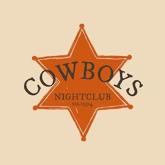 Ilustracja logo rocznika odznaki szeryfa w motywie dzikiego zachodu