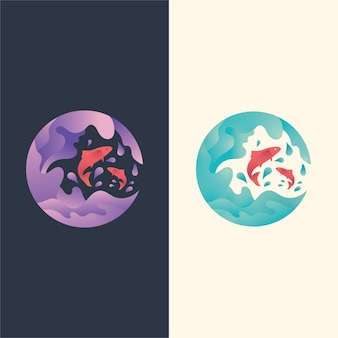 Ilustracja logo, skok ryb na falach