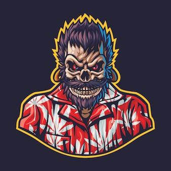 Ilustracja logo skull gangster esport