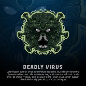 Ilustracja logo śmiertelnego wirusa
