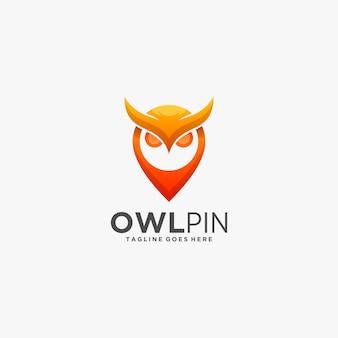 Ilustracja logo sowa i szpilka gradient kolorowy styl.