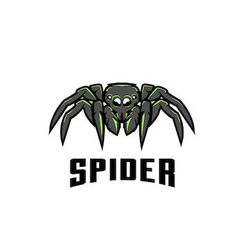 Ilustracja logo sport zielony pająk