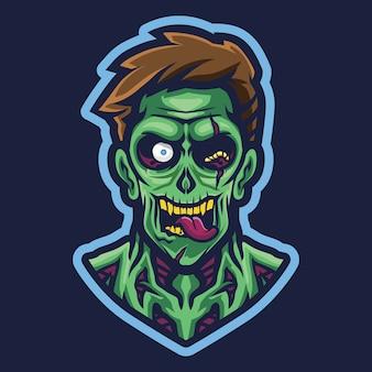 Ilustracja logo straszny zombie esport