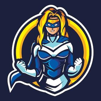Ilustracja logo super kobieta esport