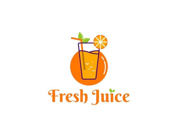 Ilustracja logo świeżego soku pomarańczowego