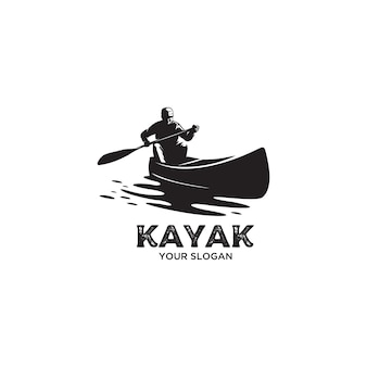 Ilustracja logo sylwetka kajak vintage