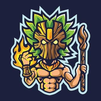 Ilustracja logo szamana esport