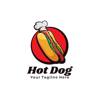 Ilustracja logo szefa kuchni hot dog