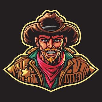 Ilustracja logo szeryfa kowboja esport