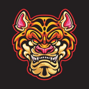 Ilustracja logo tiger head esport