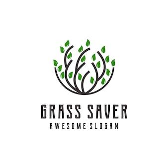 Ilustracja logo trawy abstrakcyjna grafika liniowa