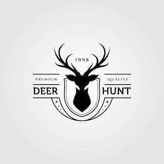 Ilustracja logo vintage polowanie na jelenie