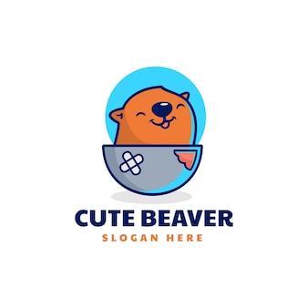 Ilustracja logo wektor ładny bóbr maskotka stylu cartoon