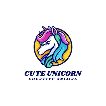 Ilustracja logo wektor ładny jednorożec prosty styl maskotki