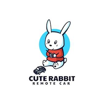 Ilustracja Logo Wektor ładny Królik Maskotka Stylu Cartoon Premium Wektorów