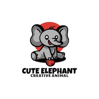 Ilustracja logo wektor ładny styl kreskówki słoń maskotka cartoon