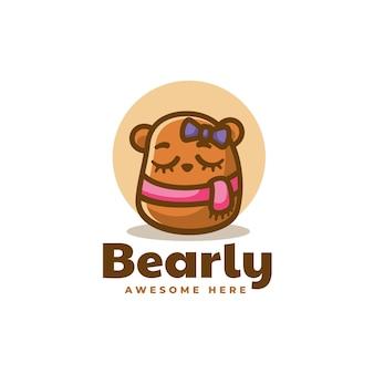 Ilustracja logo wektor niedźwiedź styl prosty maskotka