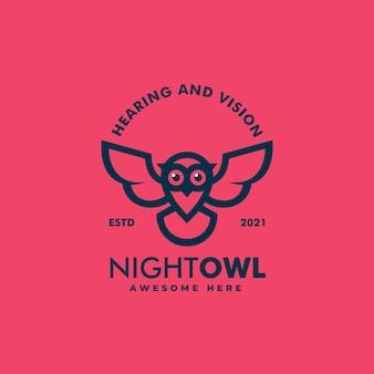Ilustracja logo wektor noc sowa styl vintage odznaka