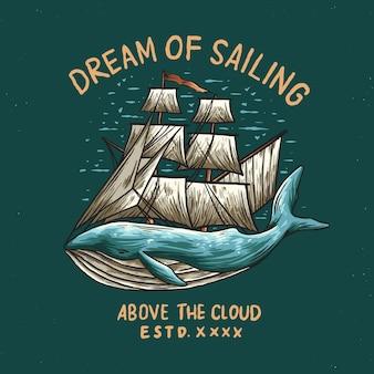 Ilustracja logo wieloryba żeglarskiego