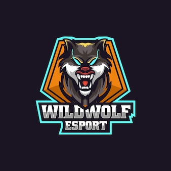 Ilustracja logo wild wolf e sport i styl sportowy