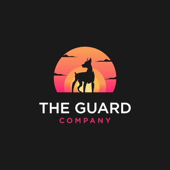 Ilustracja logo zachód słońca psa
