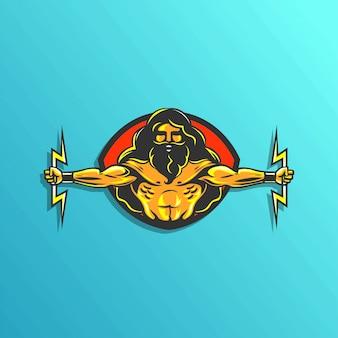 Ilustracja logo zeus do gier naklejki wektor