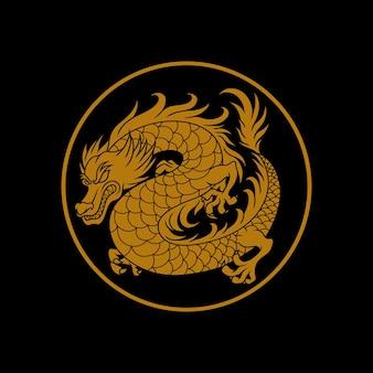 Ilustracja logo złotego smoka